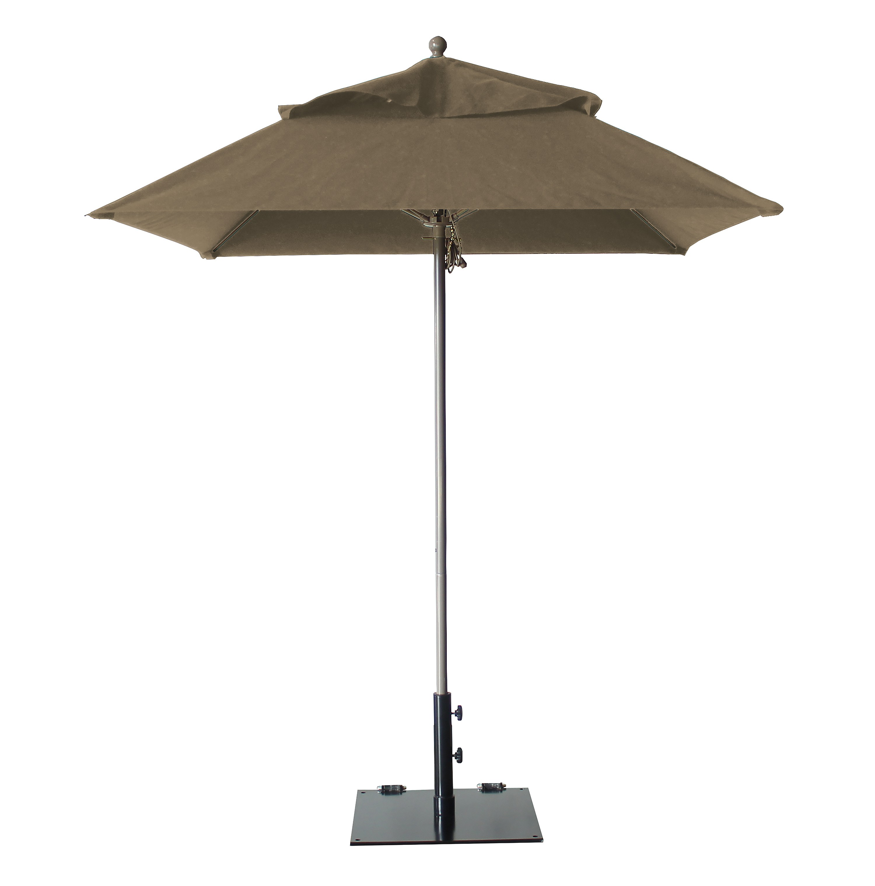 6.5 ft Square Windmaster Fiberglass Umbrella, Taupe