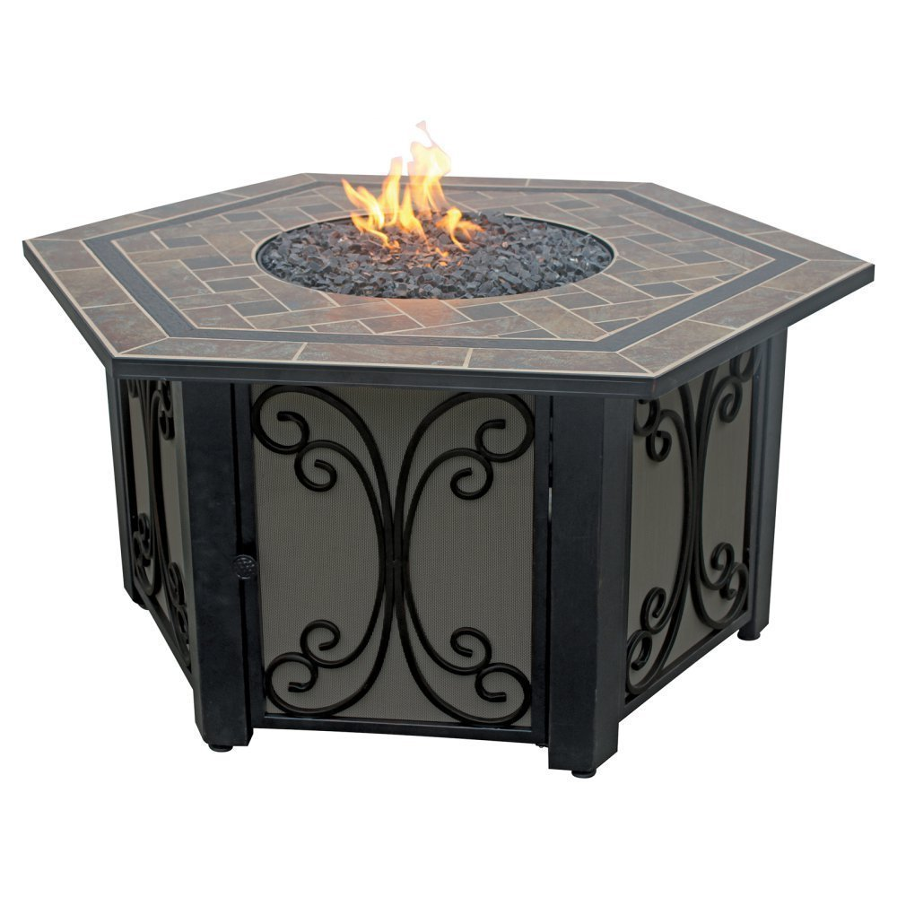 LP Gas Outdoor Fire Table with Slate Tile Mantel
