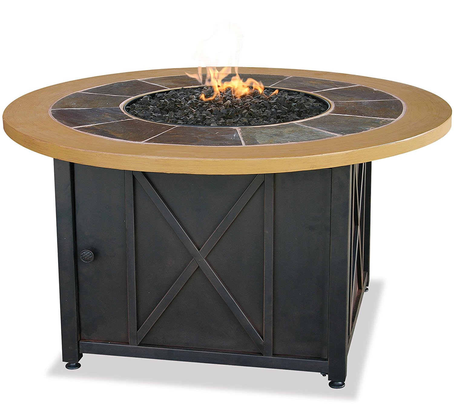 LP Gas Outdoor Fire Table with Slate and Faux Wood Mantel