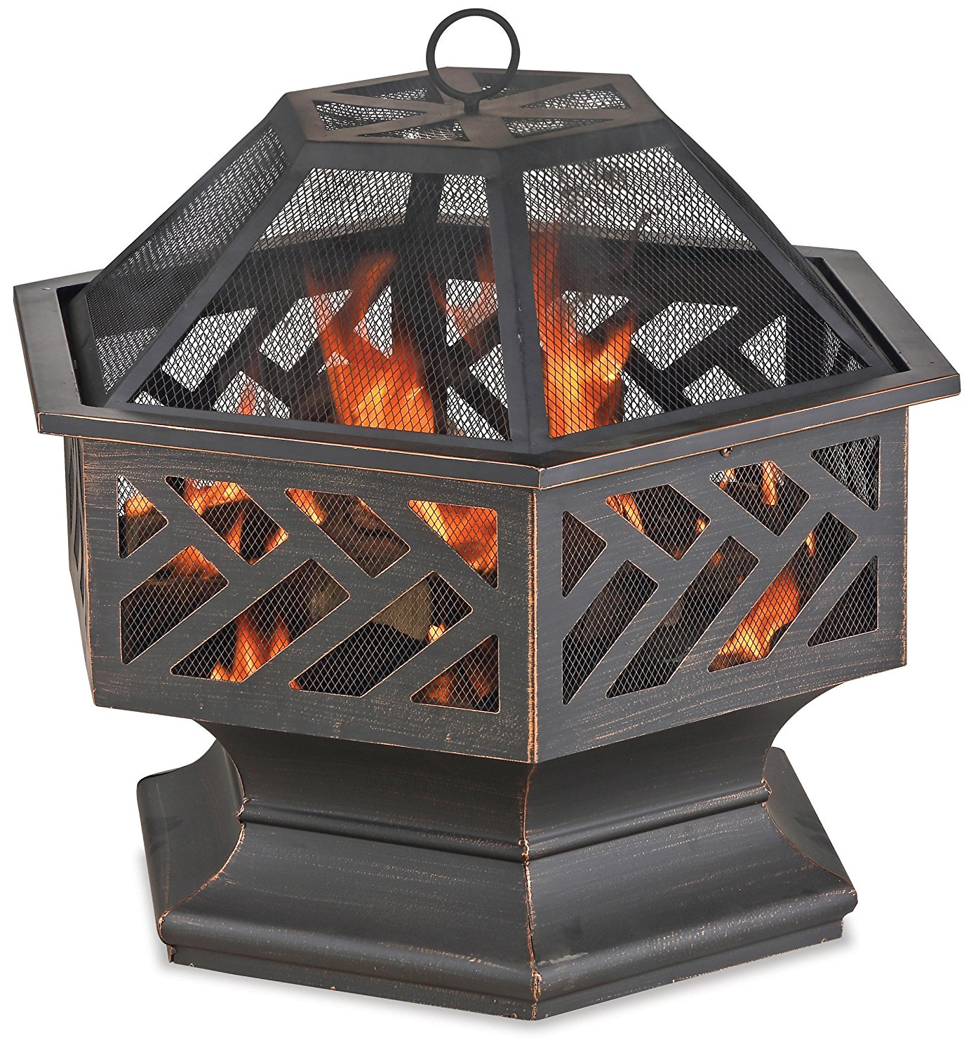 Oil Rubbed Bronze Wood Burning Outdoor Firebowl with Geometric Design