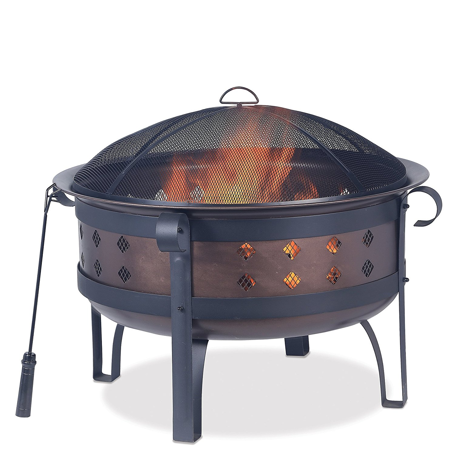 34 inch Steel/Brushed Copper Wood Burning Outdoor Firebowl