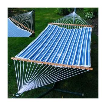 Algoma Reversible Hammock - Tropical Palm Stripe Blue/Norway Powder Blue