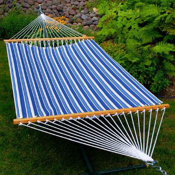 Algoma 11' Fabric Hammock - Tropical Palm Stripe Blue Print