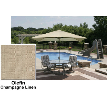 Adriatic 6.5' x 10' Rectangle Autotilt Market Umbrella - Champagne Olefin