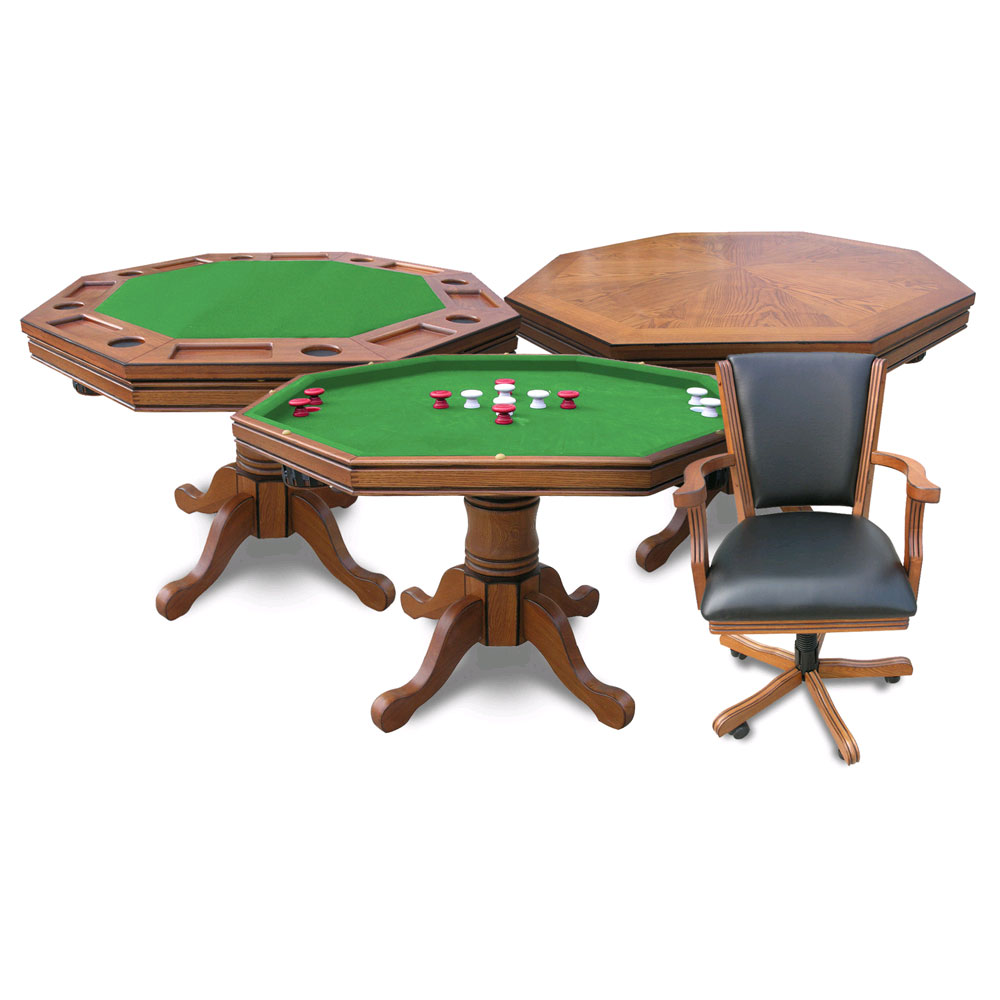 Antique Dark Oak Kingston 3-in-1 Poker Table w/4 Chairs