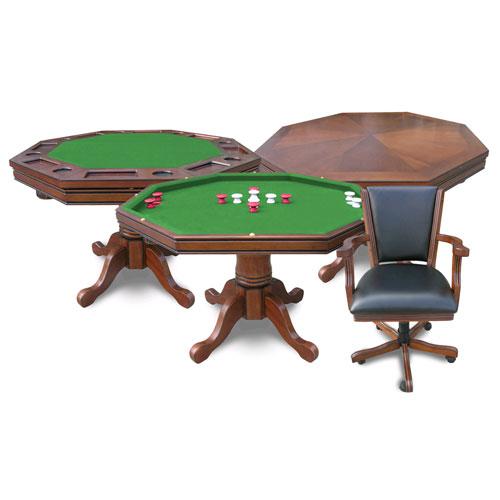 Walnut Kingston 3-in-1 Poker Table w/4 Chairs