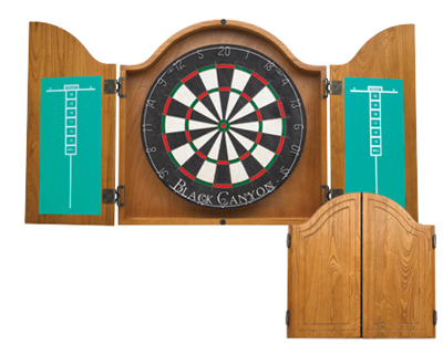 Arched Oak Dartboard Cabinet