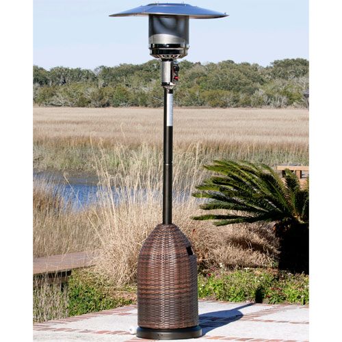 Mocha Finish w/ All Weather Wicker Tank Cover LPG 46,000 BTU Patio Heater