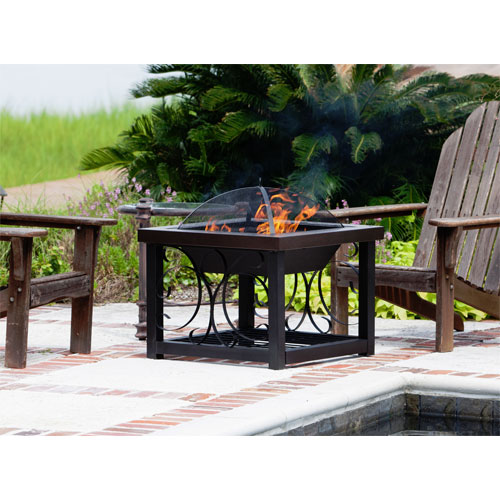 Hammer Tone Bronze Finish Cocktail Table Fire Pit