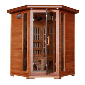 Hudson Bay 3 Person Corner Cedar Heatwave Infrared Sauna