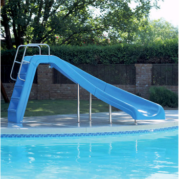 Inter fab 4 39 white water pool slide blue left turn wws clb ss for Swimming pool water slide parts