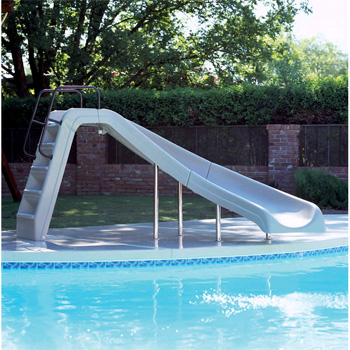 Inter-Fab 4' White Water Pool Slide - Tan - Right Turn