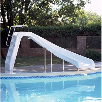 Inter-Fab 4' White Water Pool Slide - White - Right Turn