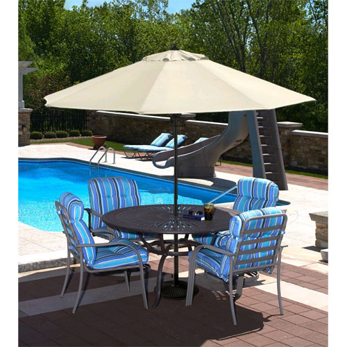 Cabo Auto-Open 9 ft. Market Umbrella in Champagne Olefin