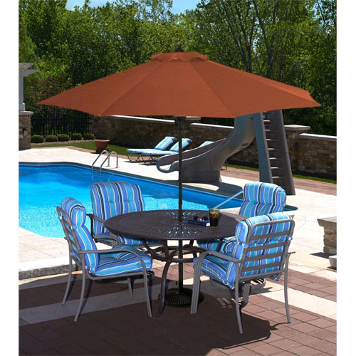 Cabo Auto-Open 9 ft. Market Umbrella in Terra Cotta Olefin