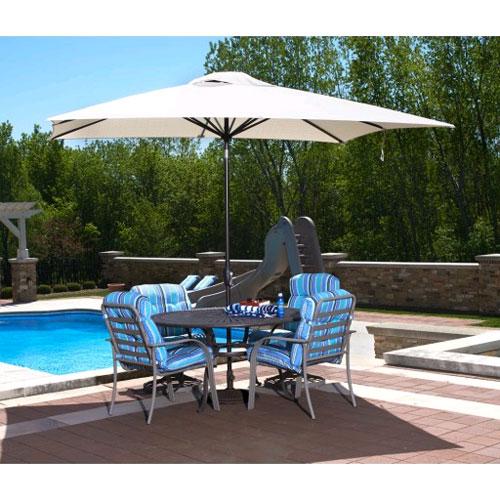 Caspian 8' x 10' Rectangular Market Umbrella - Champagne