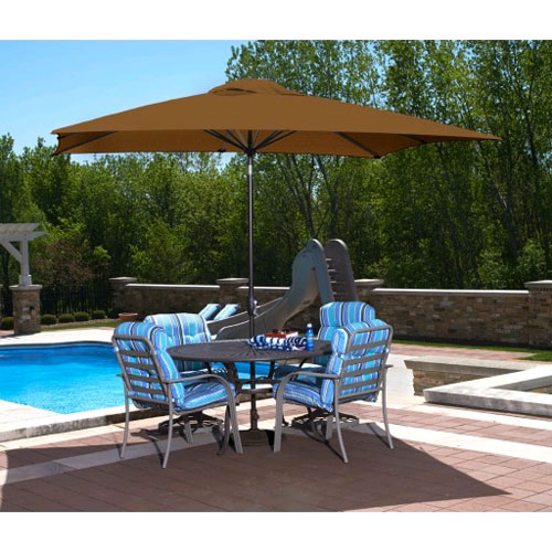 Caspian 8' x 10' Rectangular Market Umbrella - Stone