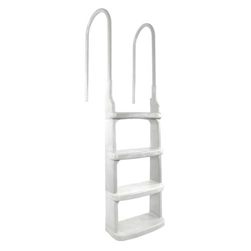 Main Access Above Ground In-Pool Ladder w/ Mounting Flanges - White