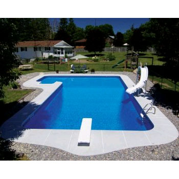 16' x 38' x 26' Steel True-L Inground Swimming Pool Kit - 2' Radius