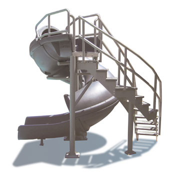 Open Vortex Pool Slide with Ladder - Gray Granite