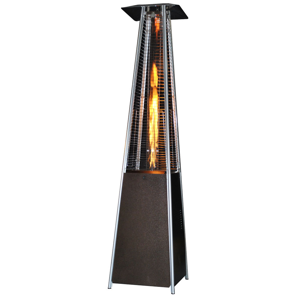 Contemporary Square Design Portable Propane Patio Heater - Golden Hammered