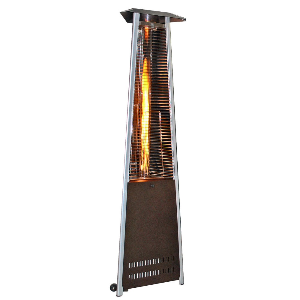 Contemporary Triangle Design Portable Propane Patio Heater - Golden Hammered