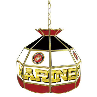 United States Marine Corp Stained Glass Tiffany Lamp