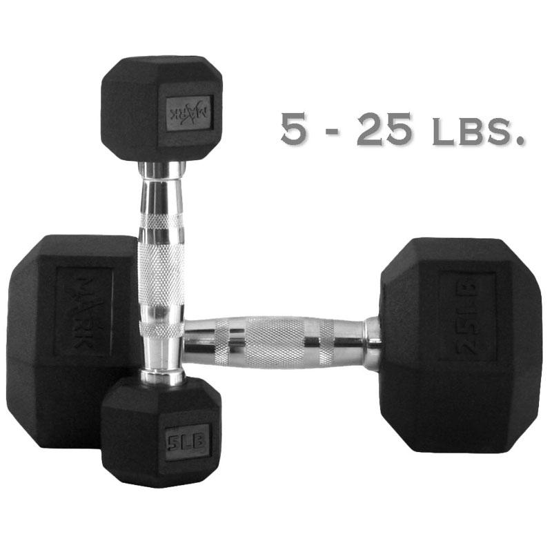 XMark 5 lb. to 25 lb. Rubber Hex Dumbbell Set