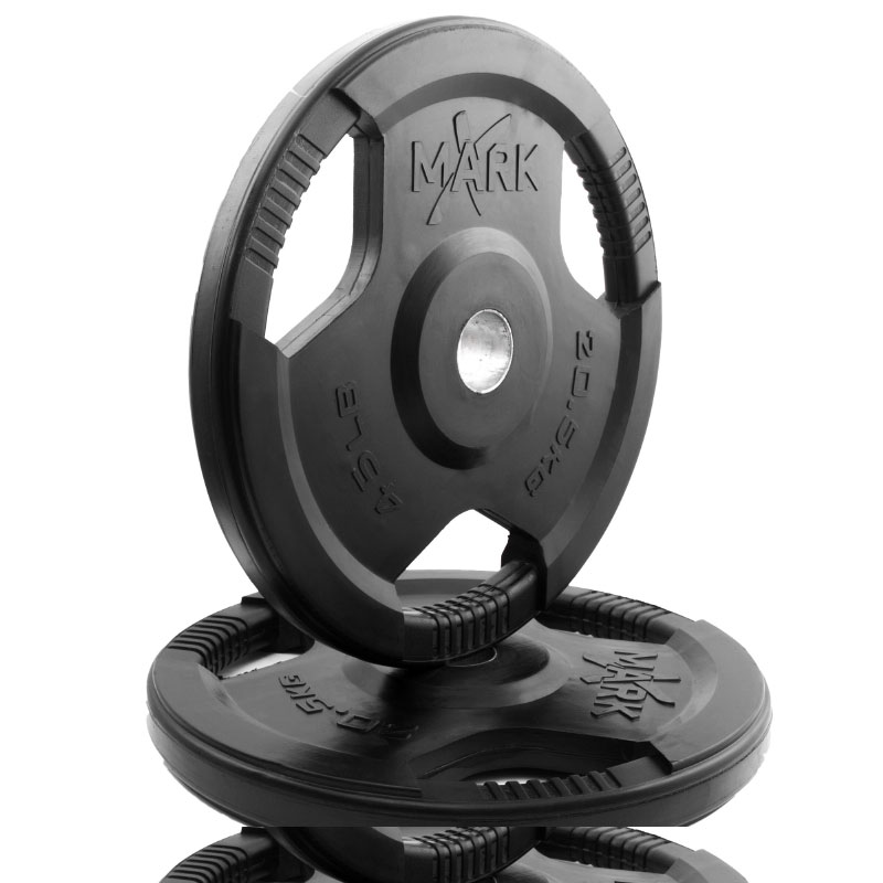 XMark Rubber Coated Tri-grip Olympic Plate Weight (Pair)