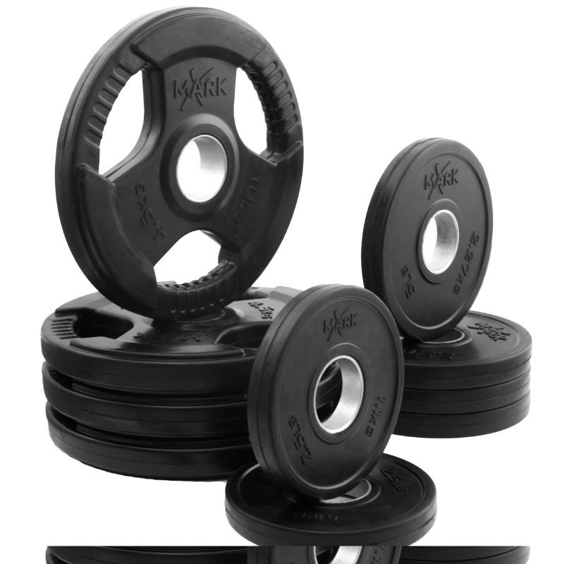 XMark Rubber Coated Tri-grip Olympic Plate Weight Package