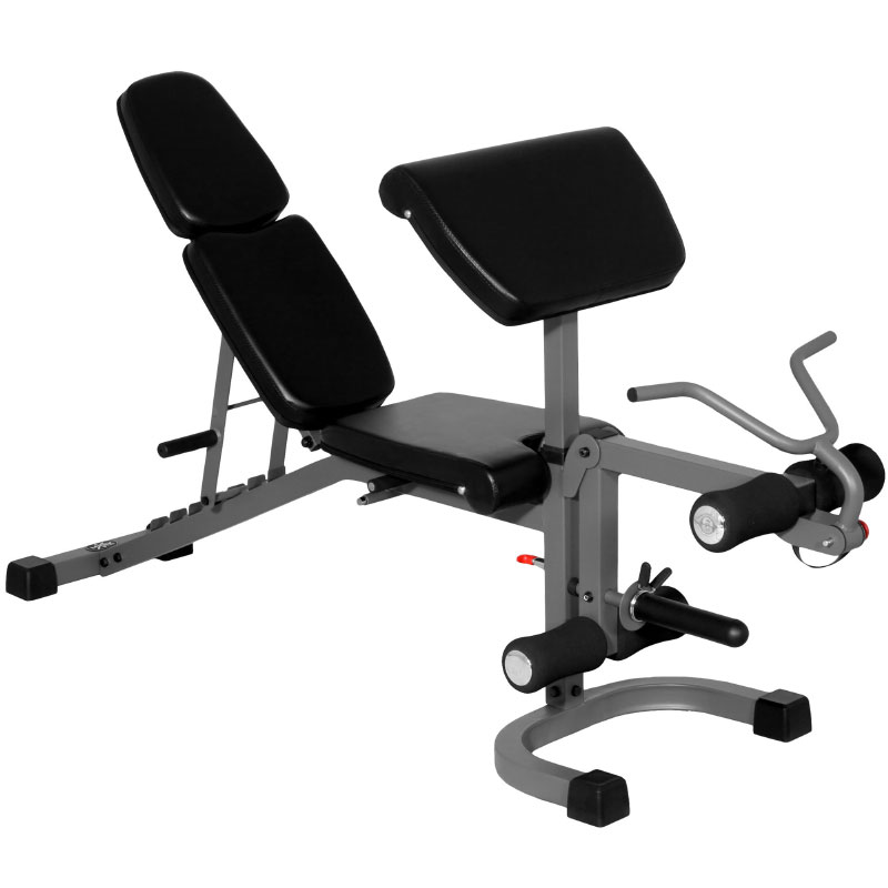 XMark FID Flat Incline Decline Weight Bench with Arm Curl and Leg Developer