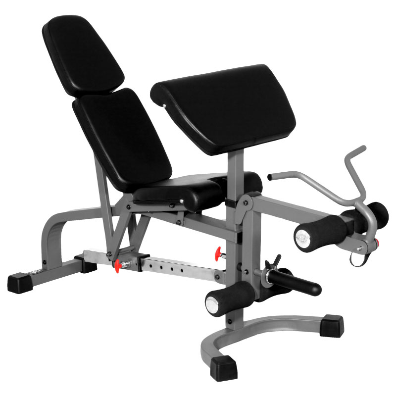 XMark FID Flat Incline Decline Weight Bench with Leg Extension and Preacher Curl